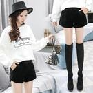 短褲女外穿秋春新款2020韓版寬鬆顯瘦黑色毛呢金絲絨高腰闊腿靴褲 美芭