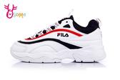 FILA RAY 白丈青紅 韓版女款 復古老爹鞋 流線造型 厚底運動鞋 C9999#白藍◆OSOME奧森鞋業