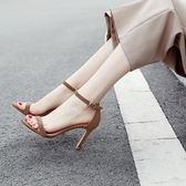 一字扣帶涼鞋女2018夏季新款小清新細跟高跟鞋百搭黑色絨面細帶33 【PINK Q】