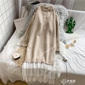 洋裝 過膝毛衣裙女寬鬆長款新款秋冬網紗拼接很仙的針織洋裝上衣 伊芙莎