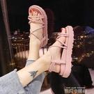 涼鞋女士仙女風2021年夏季新款百搭學生厚底綁帶羅馬平底鞋ins潮 依凡卡時尚