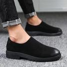 黑色豆豆鞋男皮鞋個性英倫鞋青年懶人鞋百搭韓版休閒鞋單鞋樂福鞋   伊衫風尚