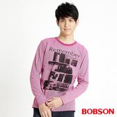 BOBSON 男款條紋印圖長袖上衣(31020-15)