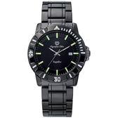 Olympia Star奧林比亞之星 黯黑簡約氚氣石英腕錶/40mm