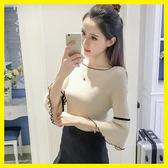 YAHOO618•春夏季新款七分袖t恤女短袖冰絲針織打底衫韓版修身喇叭袖上衣潮mandyc