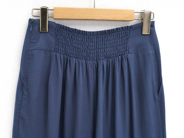 單一優惠價[H2O]附腰帶抽繩設計寬口長褲 - 藍/黑底條紋/卡其色 #9688002