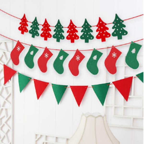 【BlueCat】聖誕佈置 2.5米紅綠雙色麋鹿聖誕襪旗幟 擺飾 派對旗