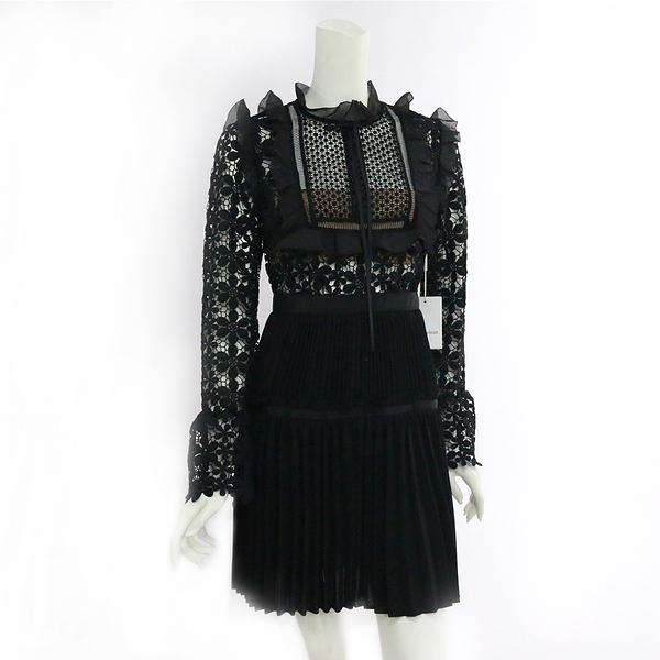 【self-portrait】黑蕾絲長袖褶裙短洋裝 SP9045B