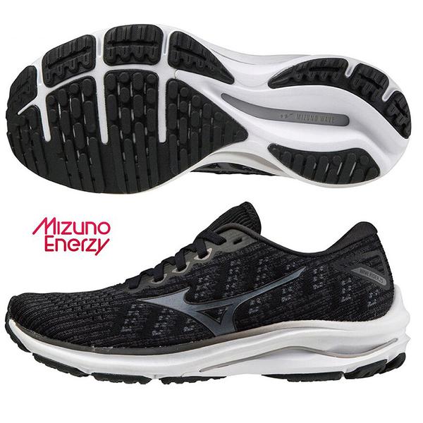 MIZUNO WAVE RIDER 25 WAVEKNIT 女鞋 慢跑 支撐 編織 一般型 黑【運動世界】J1GD217590