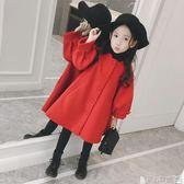 女童外套  兒童中長款呢子大衣秋冬童裝中大童紅色大衣女童毛呢外套