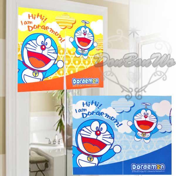 哆拉a夢小叮噹門簾窗簾中多款粉藍星608301藍黃雲608288通販屋