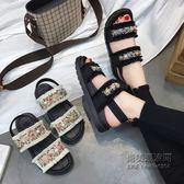 韓版平底百搭學生涼鞋時尚一字簡約原宿風復古羅馬鞋女「尚美潮流閣」