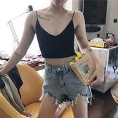 夏季高腰不規則大碼毛邊牛仔短褲女學生寬松顯瘦闊腿a字熱褲【韓衣舍】