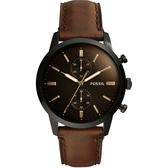 FOSSIL Townsman 城區計時手錶-咖啡/44mm FS5437