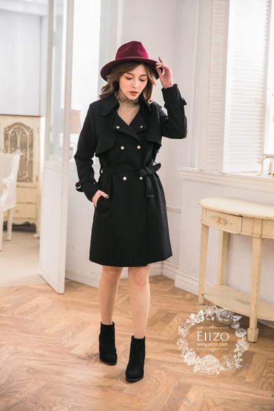 【EIIZO】率性挺版厚棉風衣外套(黑)