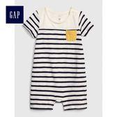 Gap男嬰兒 柔軟條紋短袖一件式包屁衣 467811-象牙白