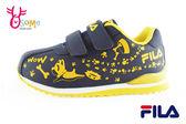 FILA男童運動鞋 法鬥犬 夜光系列 防潑水 機能慢跑鞋N7631#黑黃◆OSOME奧森童鞋