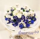藍色香頌+6枝小熊--情人花束.生日花束.聖誕花束