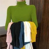 高領打底衫女長袖秋冬韓版薄款緊身內搭t恤洋氣修身純色超火上衣 嬌糖小屋