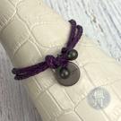 BRAND楓月 Bottega Veneta BV 紫色 雙圈 皮革編織 銅牌吊墜 手環 細版 皮飾 皮件 配件