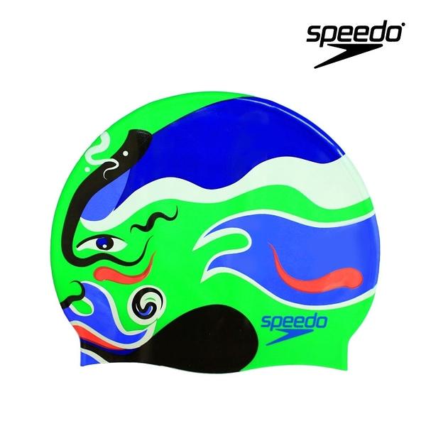 ≡Speedo≡  SLOGAN PRINT CAP 成人矽膠泳帽 SD808385A646B
