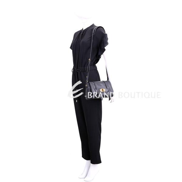 miu miu Grace Lux 小牛皮旋釦肩背包(黑色) 1840606-01