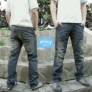 【Y796】shiny藍格子-潮流嚴選.抓皺洗舊刷色直筒牛仔長褲