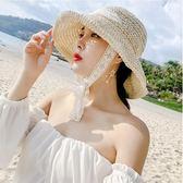 網紅草帽女夏蕾絲系帶沙灘帽小清新海邊出游度假防曬遮陽帽子綁帶