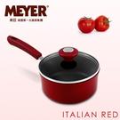 MEYER 美國美亞義大利紅耐磨不沾單柄湯鍋 番茄紅 16CM(含蓋) / 12851_16