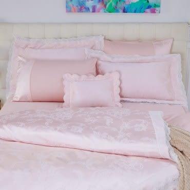 HOLA 艾芬達粉木棉絲蕾絲七件式床罩組 雙人