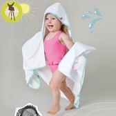 德國Lassig-嬰幼兒抗UV連帽快乾毛巾-純白