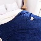 純色雙層加厚法蘭絨羊羔毯 全新升級版~【藏青色】