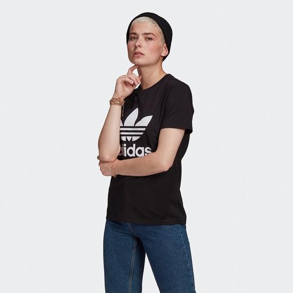 Adidas Originals ADICOLOR 女裝 短袖 休閒 棉質 三葉草 黑【運動世界】GN2896