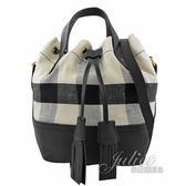 茱麗葉精品【專櫃款 全新現貨】BURBERRY 40802451 格紋棉麻束口手提兩用水桶包.黑白