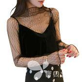 超仙性感蕾絲網紗打底衫女透明鏤空長袖上衣黑色半高領喇叭袖內搭