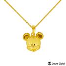 Disney迪士尼系列金飾 黃金墜子-快樂米奇款 送項鍊