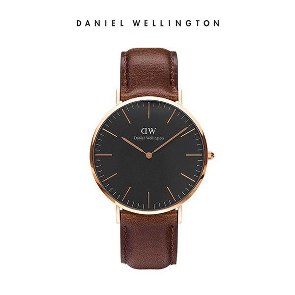 Daniel Wellington DW 手錶 40mm玫瑰金框 Classic Black 深棕真皮皮革錶
