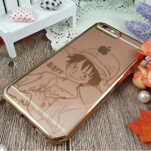 【航海王 】時尚質感金色電鍍保護套-人物系列 iPhone 7 plus (5.5吋)