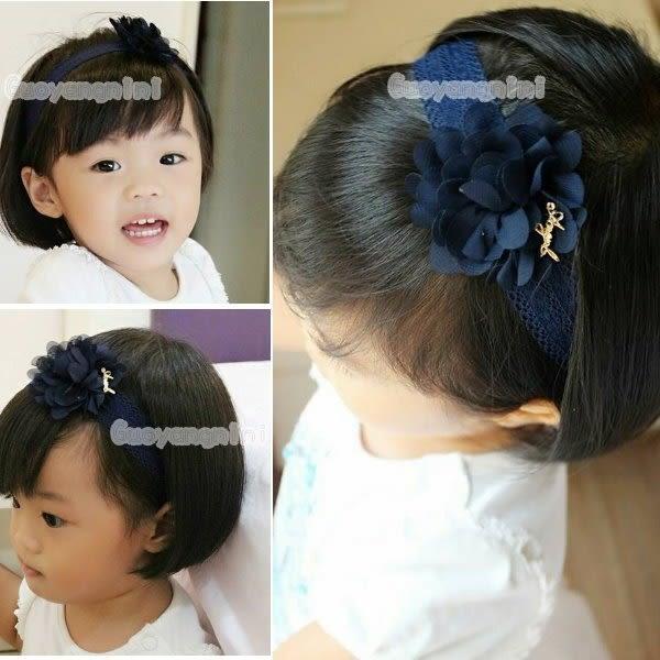 手工髮帶 氣質雪紡花款兒童 寶寶 嬰兒 彈性髮帶 拍照 彌月 寫真  果漾妮妮【P3962】