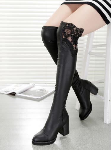 ✿ 3C膜露露 ✿ 冬季新款蕾絲高筒女靴彈力軟皮皮靴韓版蕾絲雕花高跟粗跟膝上靴