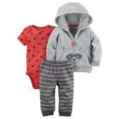 Carter's平行輸入童裝 男寶寶 連帽刷毛外套&短袖包屁衣&長褲 灰【CA121H658】