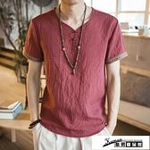 棉麻上衣 中國風復古男裝亞麻T恤男士短袖寬鬆大碼休閒盤扣麻料棉麻上衣薄 酷男