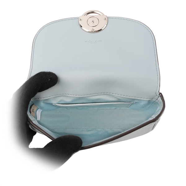【COACH】圓形馬車LOGO素面馬鞍造型腰包(迷你)(粉藍色) F79941 SVPB