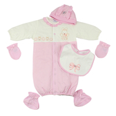 【愛的世界】純棉鋪棉長袖兩用嬰衣禮盒/3~6個月-台灣製- ★禮盒推薦
