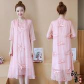 大尺碼洋裝真絲連身裙中長款修身飄逸仙女刺繡寬鬆a子裙 618降價