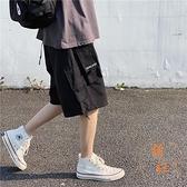 多口袋機能風工裝短褲男士夏季休閒五分褲寬鬆薄款中褲子【橘社小鎮】