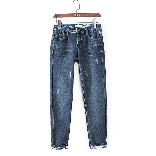 [超豐國際]格春夏裝女裝藍色時尚經典休閑百搭牛仔褲 4167(1入)