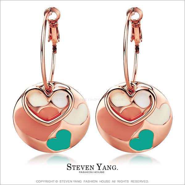 耳環STEVEN YANG正白K飾「俏麗甜心」耳針式 愛心 甜美撞色 *一對價格*