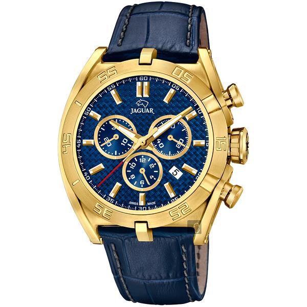 JAGUAR積架 EXECUTIVE 極速計時手錶-藍x金框/45.8mm J858/2