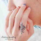 古銀盤繞樹葉戒指【櫻桃飾品】【10574】